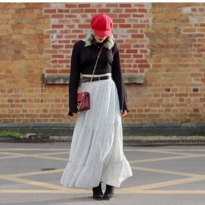 H&M Black White Dot Patterned Tiered Maxi Skirt 6